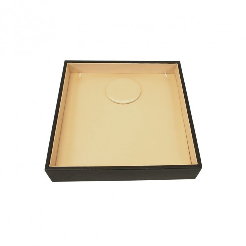 BLACK/BEIGE SATIN/ LEATHERETTE NECKLACE TRAY