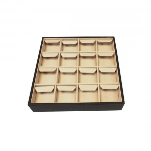 BLACK/BEIGE SATIN/ LEATHERETTE EARRING TRAY