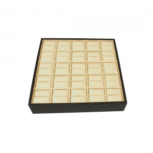 BLACK/BEIGE SATIN/ LEATHERETTE RING SLOT TRAY