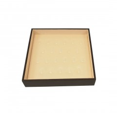 BLACK/BEIGE SATIN/ LEATHERETTE RING CLIP TRAY